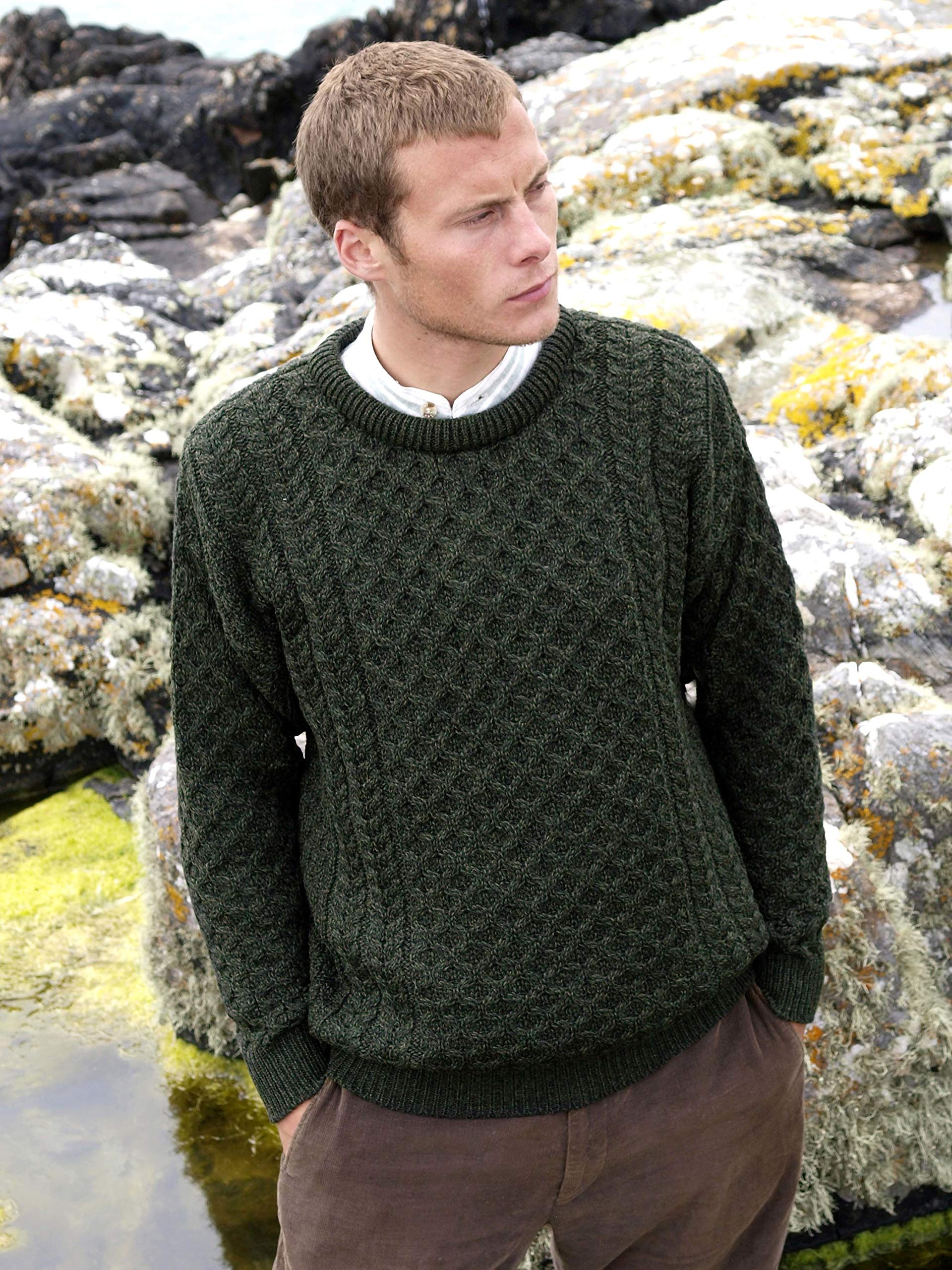 100% Soft Irish Merino Wool Crew Neck Sweater by West End Knitwear,Green,X Large