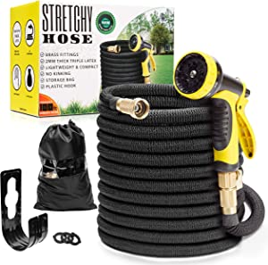 "Expandable Garden Hose 100ft | Superior Lightweight Garden Hose | Never Kink Garden Hose 100 ft | Black Leak Proof Retractable Hose 100 ft | Solid 3/4"" Brass Connectors 