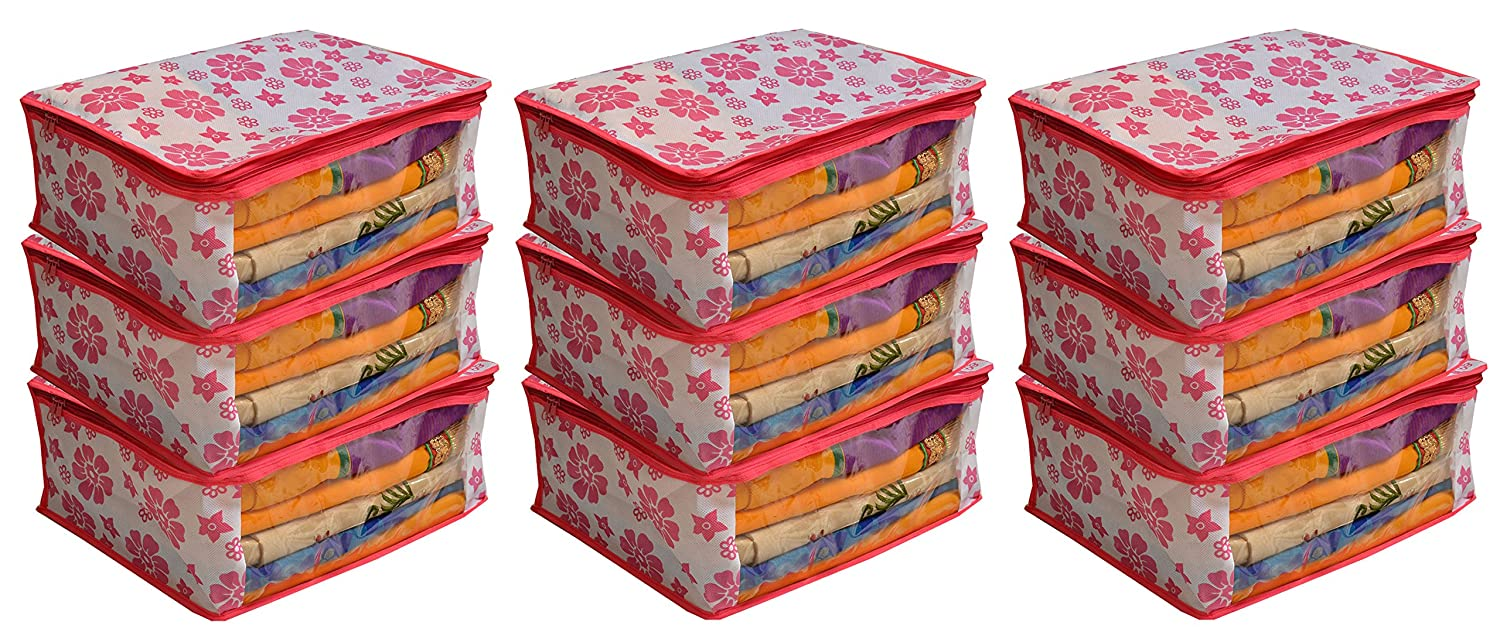 Kuber Industries 9 Piece Non Woven Saree Organiser, Pink