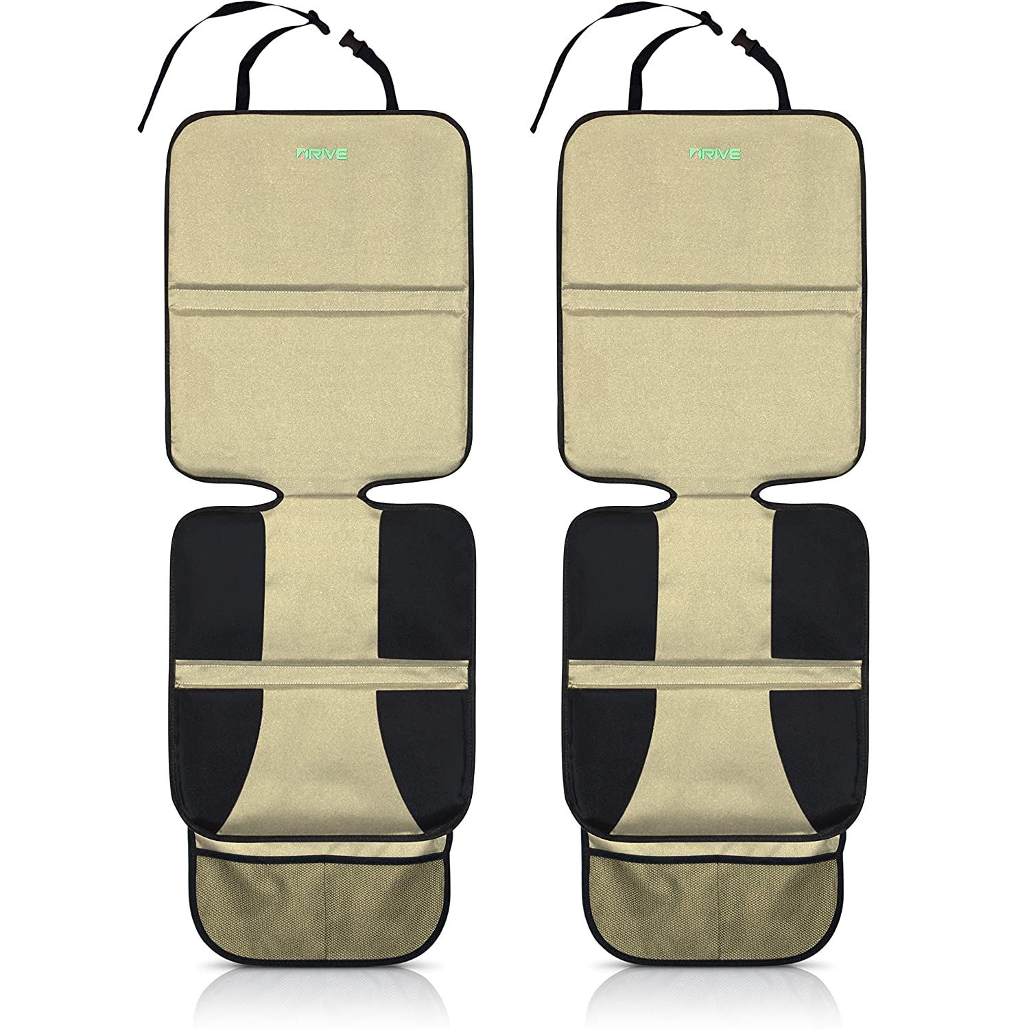 Car Seat Protector (2-Pack, Tan) by Drive Auto Products - Thick Protection for Child Cars Seats or Dog Mat - Durable Cover Protects Automotive Vehicle Leather or Cloth Upholstery from Damage Car Seat Protector 2P Beige