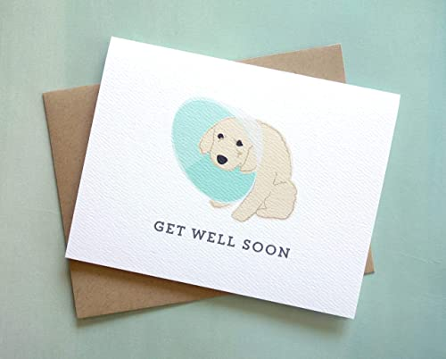 FEEL BETTER DOG Card Get Better Card Cone of shame card Sympathy Card