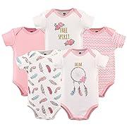 HUDSON BABY Unisex Baby Cotton Bodysuits, Dream Catcher 5 Pack, 3-6 Months (6M)
