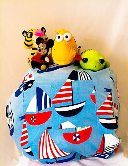 Groovy Kids Stuffed Animal Storage Bean Bag Chair Bean Bag Chair For Kids Available In 3 Patterns Sky Blue Medium Inzonedesignstudio Interior Chair Design Inzonedesignstudiocom