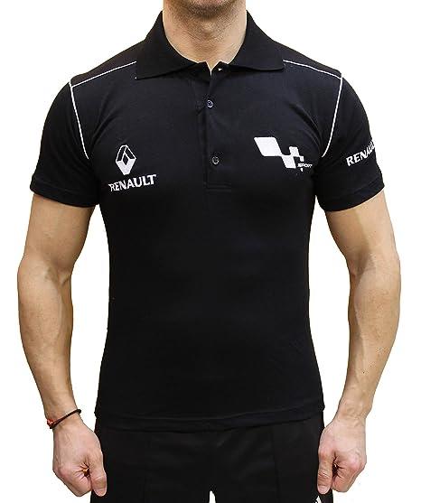 Renault Sport Polo Logo Embroider Embroidery EMBROIDÉ BRODÉ T-Shirt Collar  Noir en Coton Peigné 744efbe1154