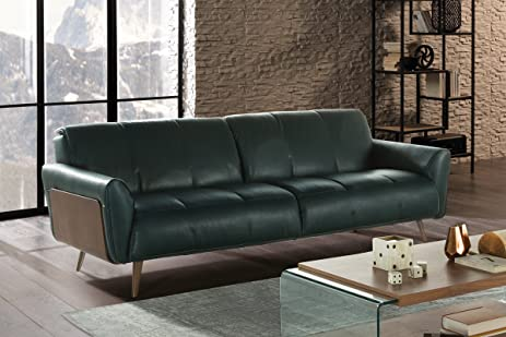 Captivating Natuzzi Editions Tobia Green Leather Sofa