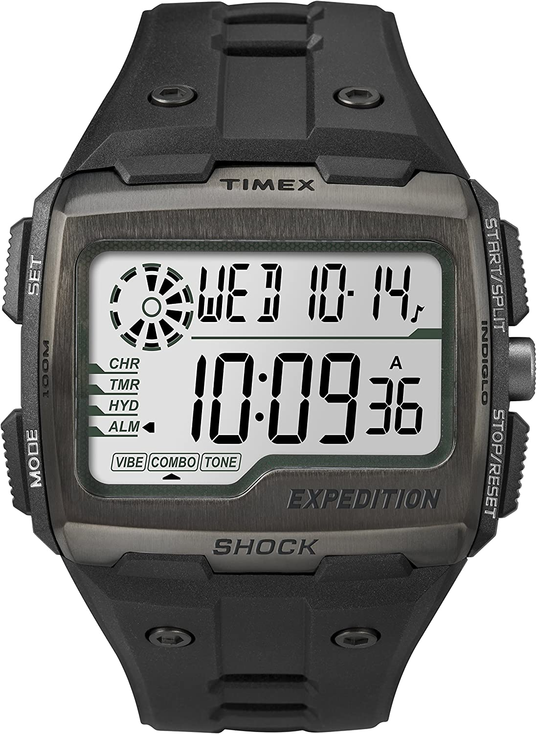 Timex Men Grid Shock LCD Black Dial with Black Resin Strap Watch