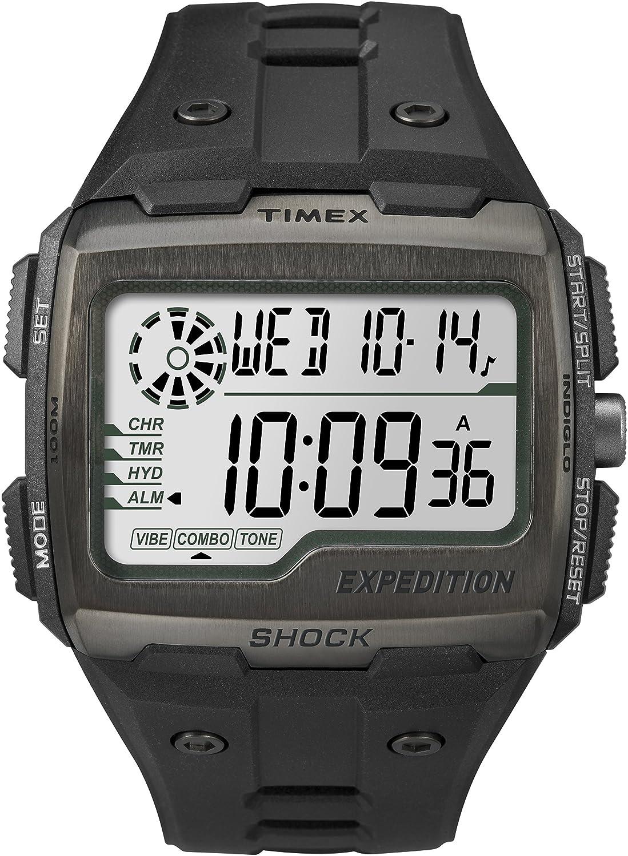 Timex Grid Shock - Reloj digital con correa de resina para hombre, color negro/LCD