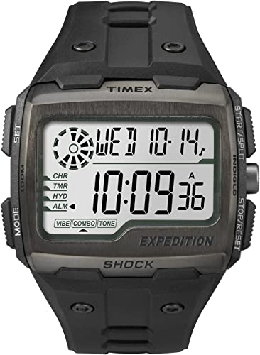 1323c1278dea Timex TW4B02500 Men Grid Shock LCD Black Dial With Black Resin Strap Watch   Amazon.co.uk  Watches