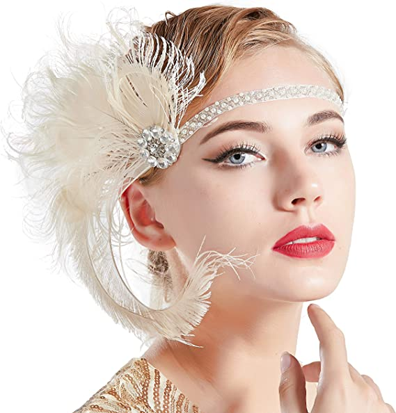 1920s Accessories | Great Gatsby Accessories Guide ArtiDeco 1920s Headpiece Vintage 1920s Flapper Headband Peacock Feather Crystal Beaded Headband Great Gatsby Costume Accessories Roaring 20s Accessories (Beige) £13.99 AT vintagedancer.com