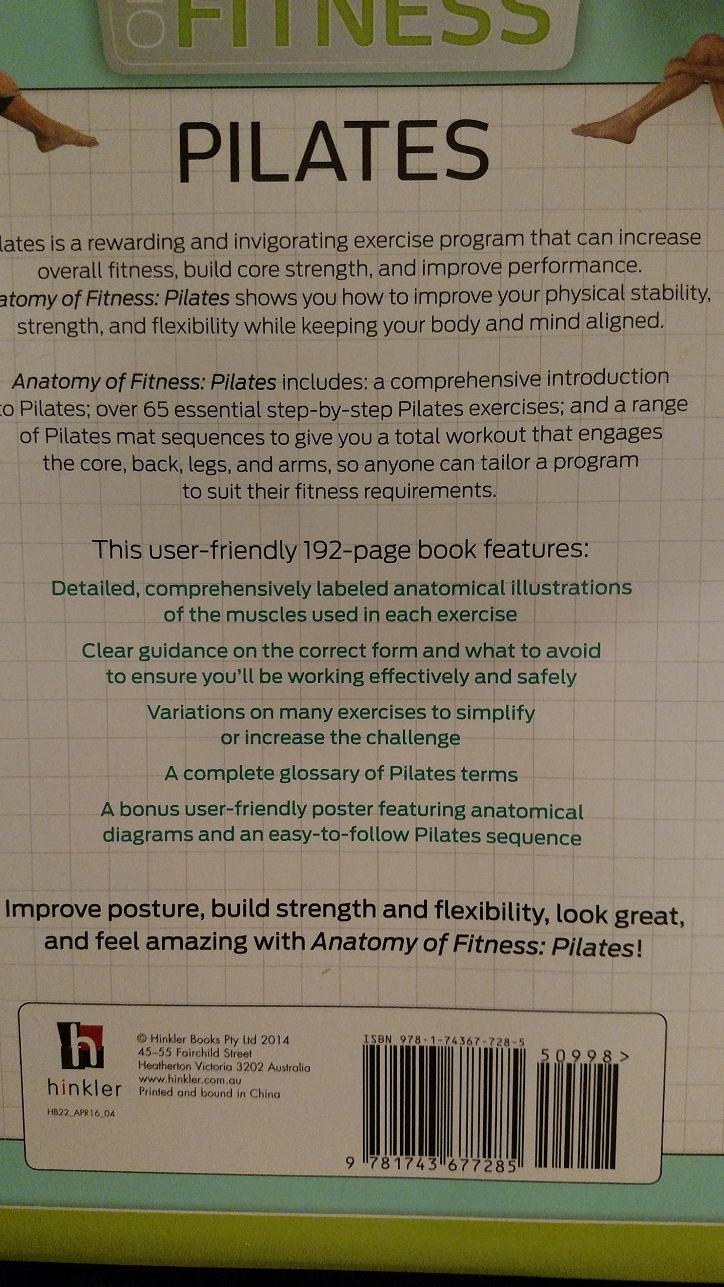 Anatomy of Fitness Pilates With Poster: Hinkler: 9781743677285 ...