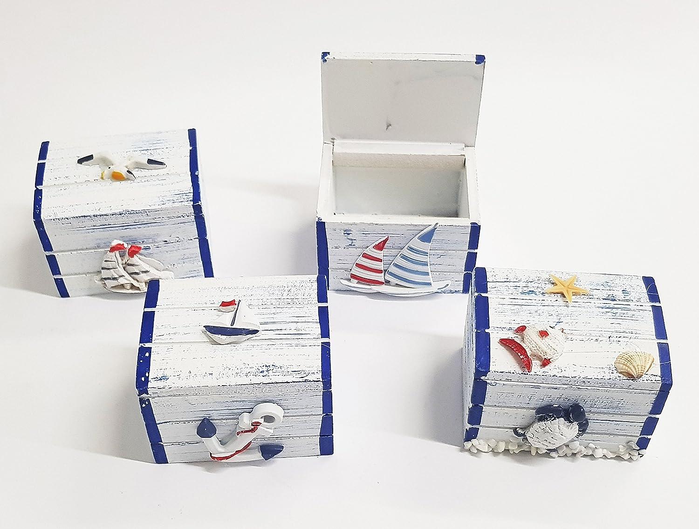 takestop Bo/îte Bo/îte 7.5/x 5.5/x 5/cm Bateau R/éseau gouvernail Blanc Bleu Shabby Style Marin D/écoration Design Porte Drag/ées Bonbonni/ère