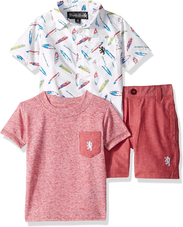 English Laundry Baby Boys Sleeve Woven, T-Shirt, and Short Set