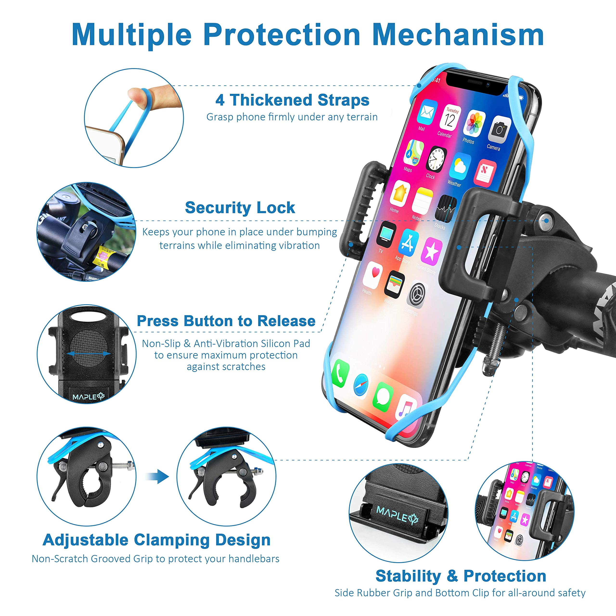 PREMIUM Bike Phone Holder Mount - Universal Mounts for Bicycle, Motorcycle, Motorbike, Moped, Scooter, Pram - All Handlebars & 360° - AntiShake & NonSlip - 3.5 to 6.5 Inch Smartphone - Waterproof