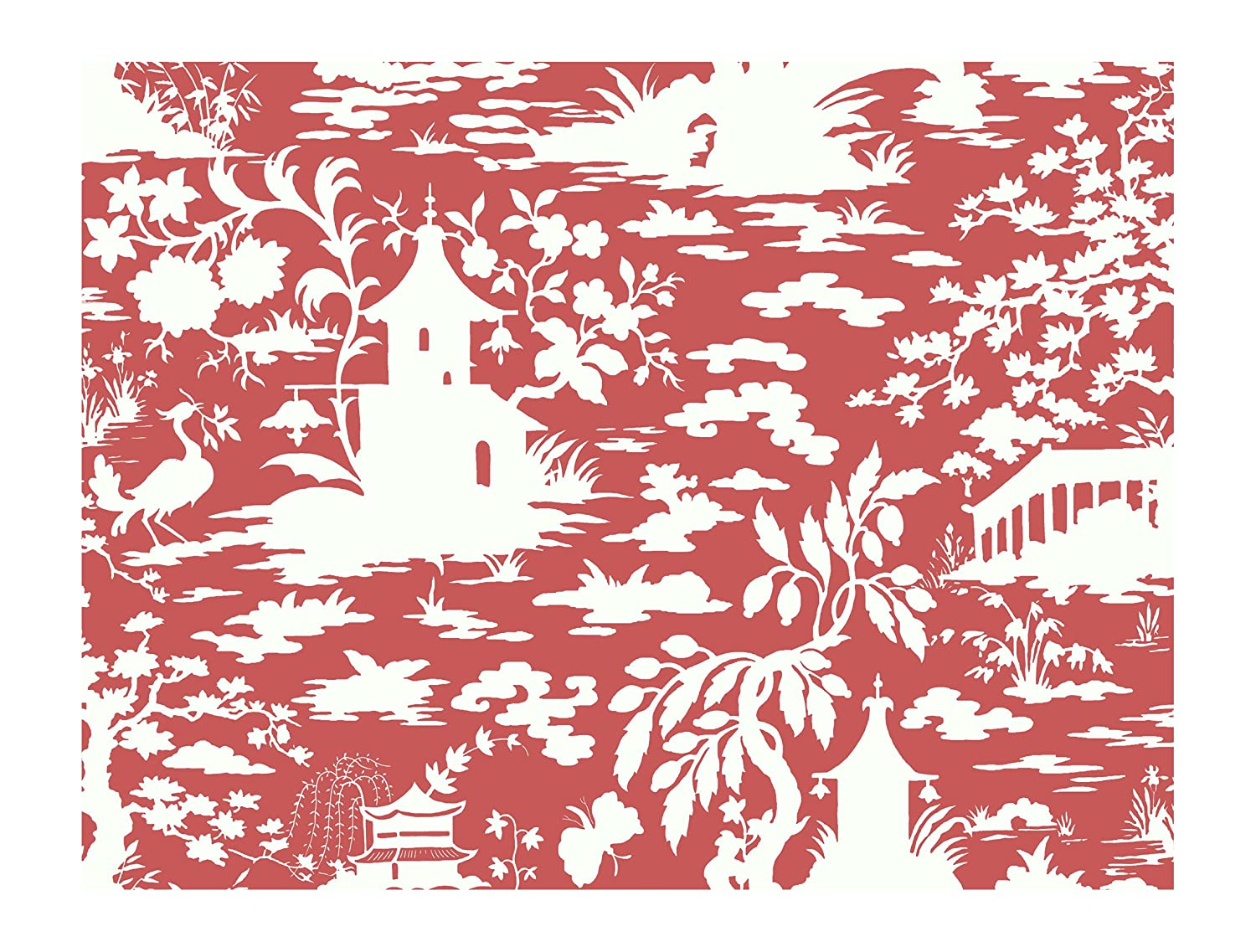 York Wallcoverings AP7418SMP Silhouettes Asian Scenic Toile Wallpaper Memo Sample 8-Inch x 10-Inch