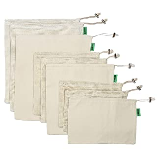Premium Reusable Produce Bags   Zero Waste Green Bags   Organic Cotton is Washable& Durable   Mesh and Bulk Bags with tare weight   Set of 9   Large Medium Small