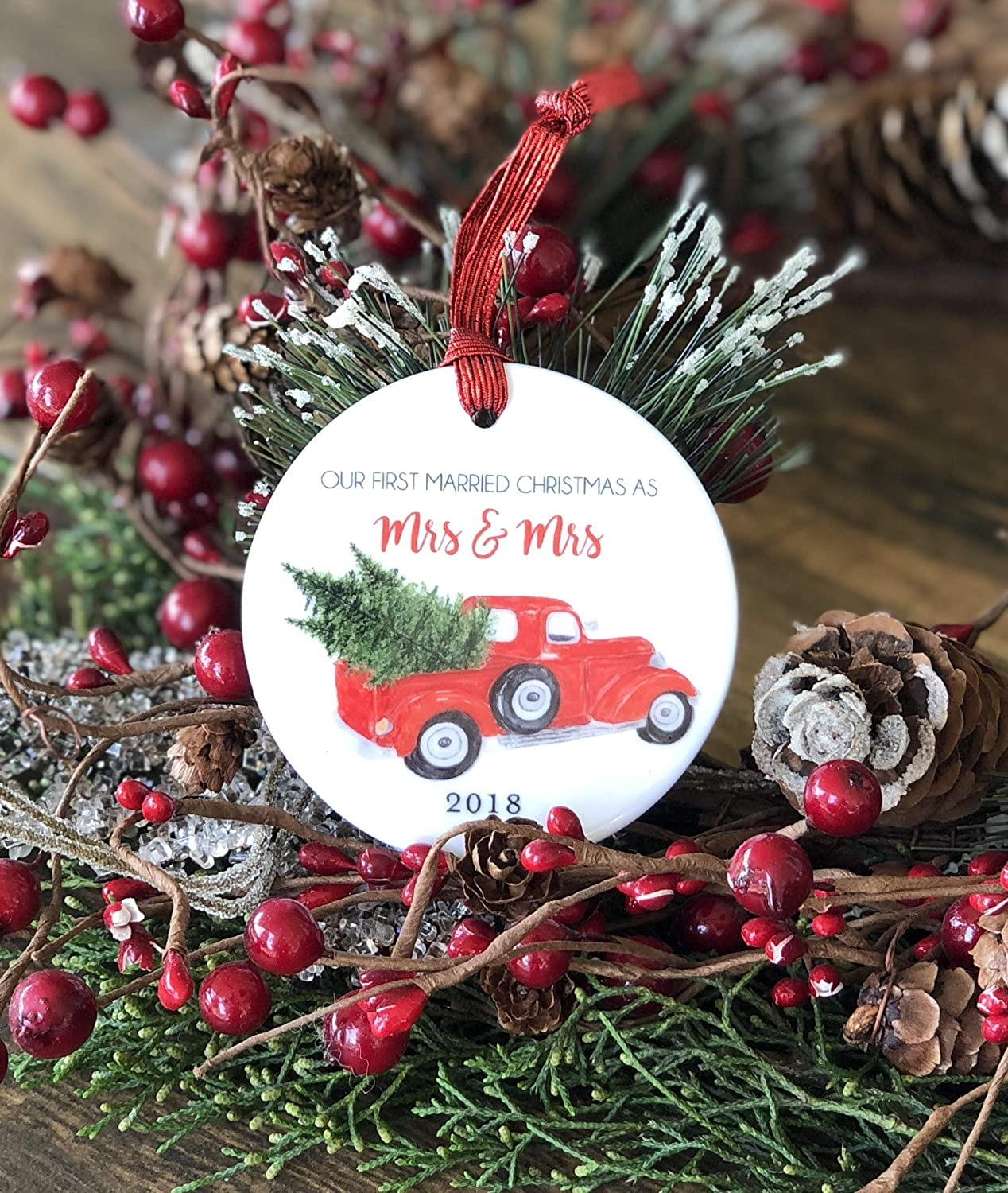 Amazon.com: Our First Married Christmas as Mrs and Mrs 2018 Red ...