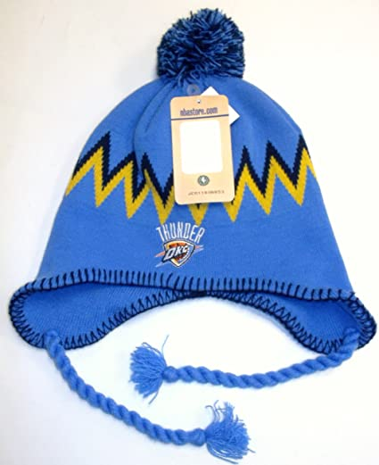 bf0112fd10f Amazon.com   NBA Oklahoma Thunder Pom Braids NBA Knit Hat - Osfa ...
