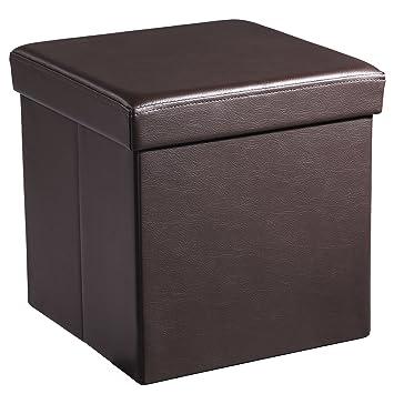 SONGMICS 15u0026quot; X 15u0026quot; X 15u0026quot; Storage Ottoman Cube / Footrest  Stool /