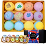 12 Pcs Large Size Organic Bath Bombs Gift Set, Handmade Double-Layer Color, Rich Bubble to Moisturize Skin with Essential Oil