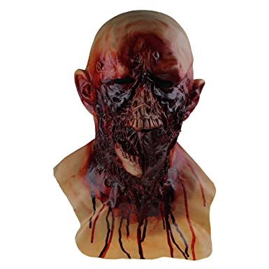 COMLZD Scary Halloween Latex Bloody Zombie Melting Mask Cosplay Costume Full Overhead Latex Props