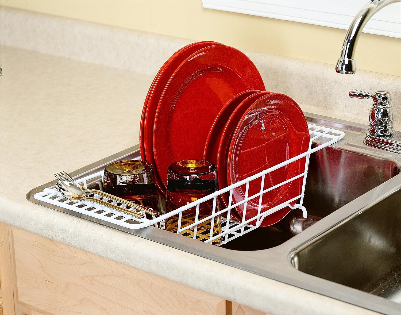 Kitchen Sink Drain Rack Amazoncom Closetmaid 3921 Over The Sink Drainer White Dish Racks