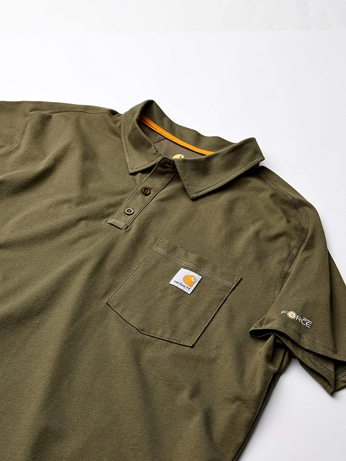 Carhartt Mens Force Cotton Delmont Pocket Polo T Shirt tee: Amazon ...