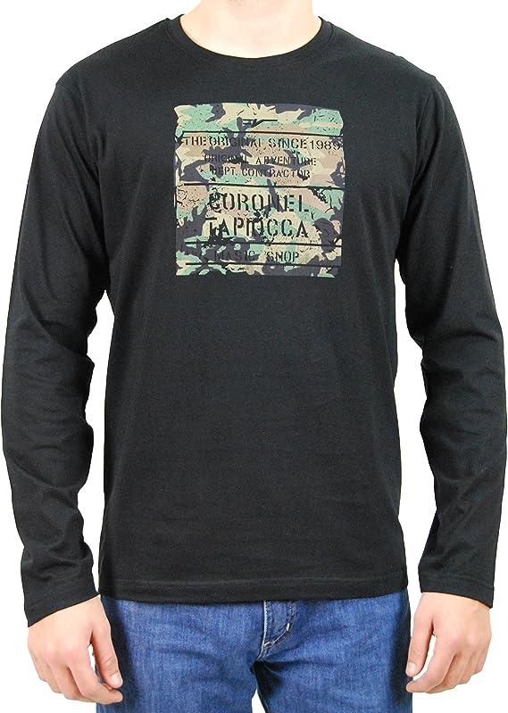 Coronel Tapioca - Camiseta de Manga Larga Militar para Hombre, Talla XXL, Color Negro: Amazon.es: Ropa y accesorios