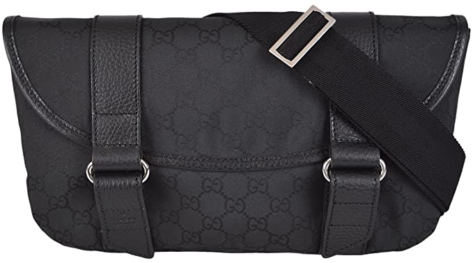 dbf7eb049b1d8a Image Unavailable. Image not available for. Colour: Gucci Men's GG  Guccissima Black Nylon Waist Sling Bag