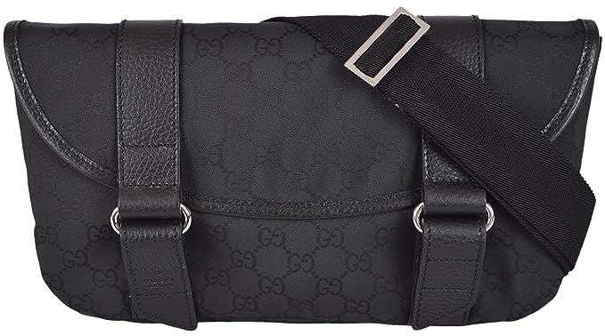39d387539d0 Image Unavailable. Image not available for. Colour  Gucci Men s GG  Guccissima Black Nylon Waist Sling Bag