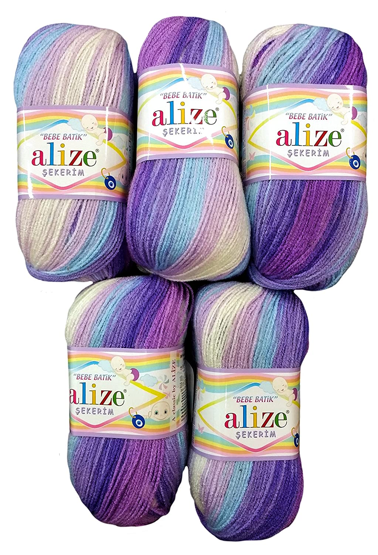 Nr blanco 3483/500/G lana de punto y ganchillo 5/x beb/é lana 100/Bebe Tie Dye morado//lavanda//rosa