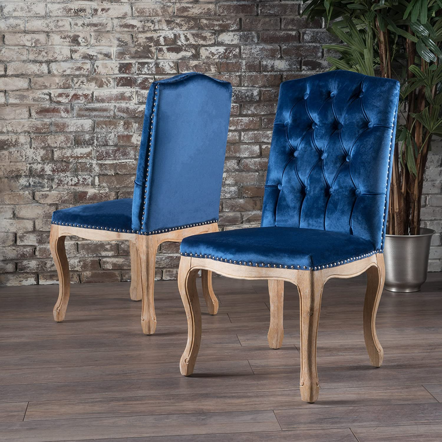 Amazon com shylo navy blue velvet dining chairs set of 2 chairs