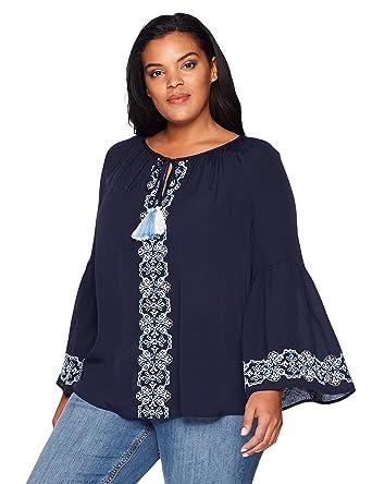 e59a5eebeb220 Karen Kane Women s Plus Size Embroidered Double Tassel Top at Amazon Women s  Clothing store
