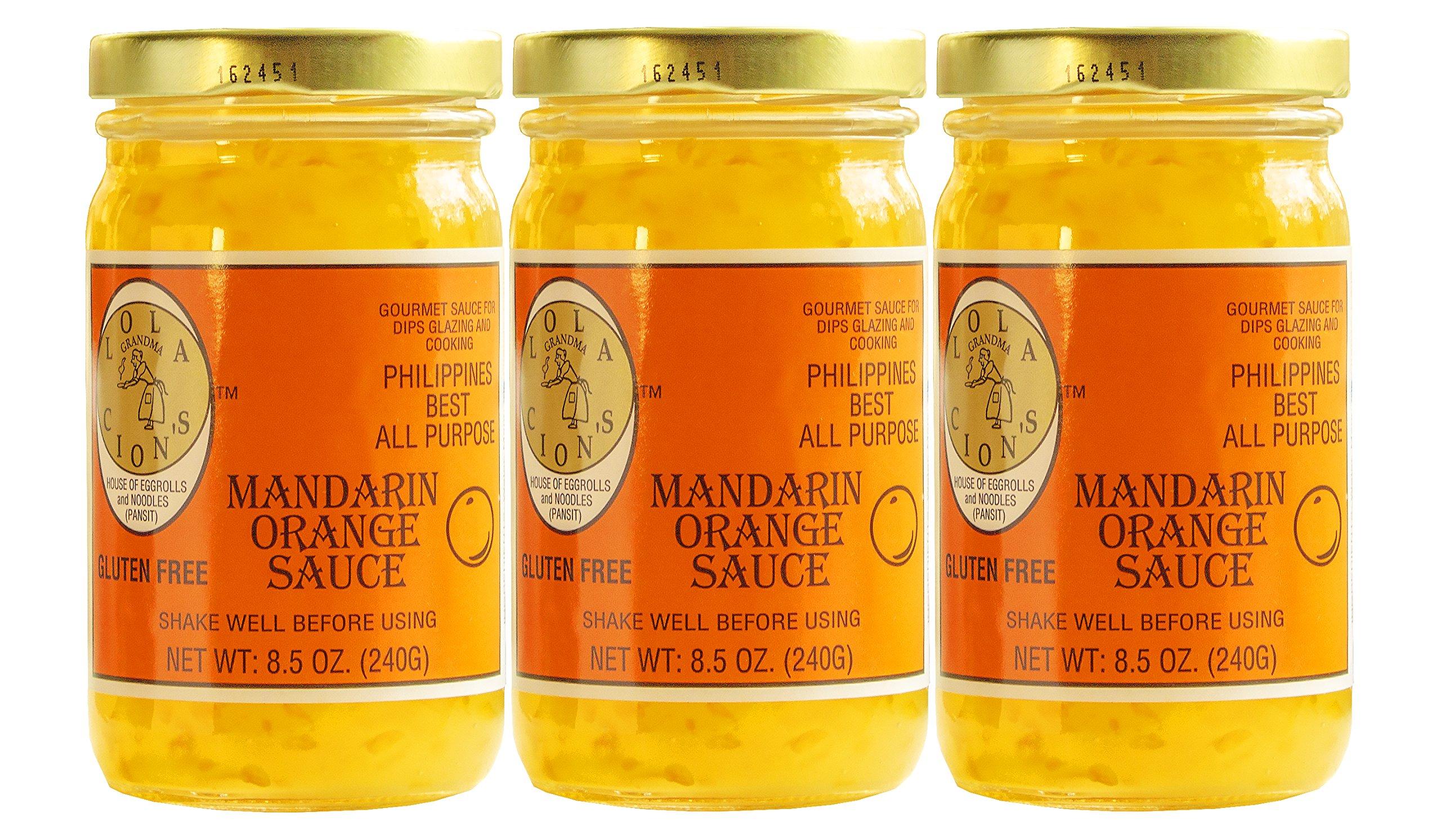 Lola Cion's Mandarin Orange Sauce (8.5 oz.) 3 pack bottles. All Natural, Gluten Free Multipurpose Glaze, Dressing, Topping, or Dip   Sweet, Low -Sugar Flavor   Cooking and Baking by Lola Cion's (Image #1)