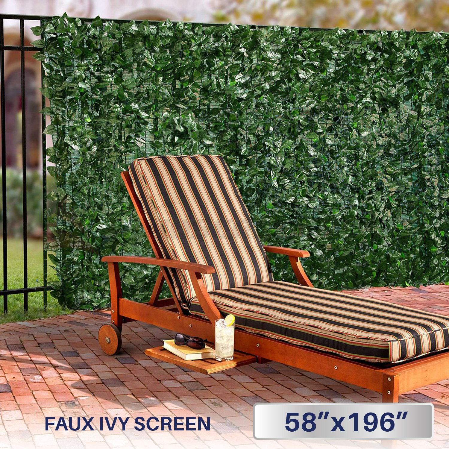 Windscreen4less Artificial Faux Ivy Leaf Decorative Fence Screen 58.5'' x 196'' Ivy Leaf Decorative Fence Screen by Windscreen4less
