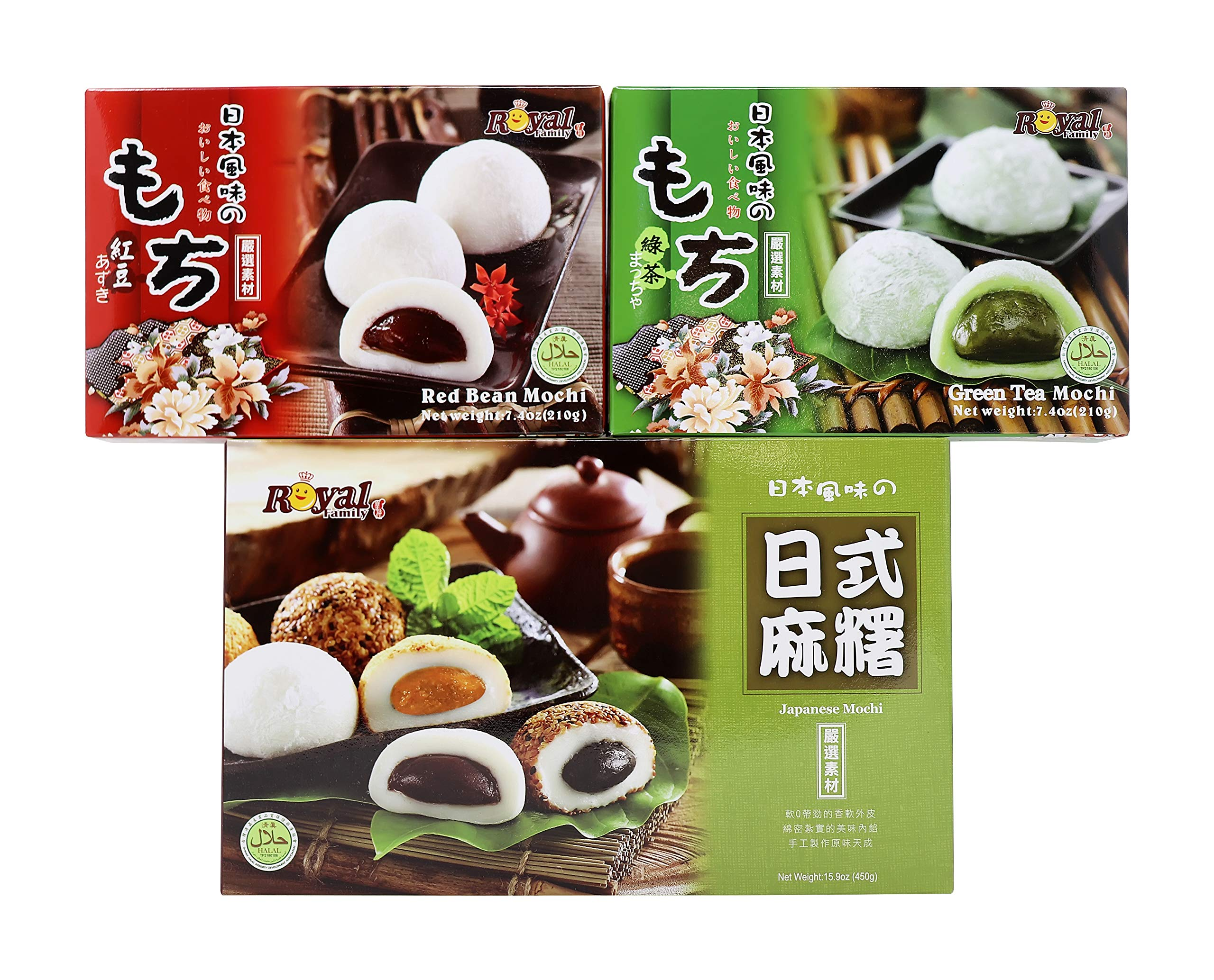 Royal Family Japanese Mochi Variety Pack Red Bean Green Tea, Assorted Mochi snacks
