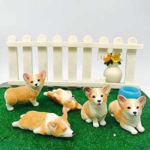 AUSPA 5-Pack Pembroke Welsh Corgi Sculpture Figurine Toy, Hand-Made and Painted Pet Portrait Dog Statue Ornament Memorial Decoration, Corgi Collectibles, Pembroke Welsh Corgi Art (Corgi 5-Pack)