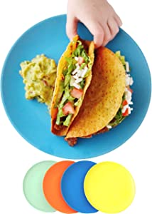 ECO MATTERS【Microwave Safe】Bamboo Toddler Plates - 4 pc Set - Best Eco-Friendly Dinnerware Plate Pack for Children, Dishwasher and Microwave Safe - Natural, BPA Free, Non-Toxic