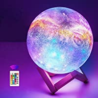 OxyLED Moon Lamp, 16 Colors 7.1 Inch 3D Print LED Galaxy Moon Light Dimmable with Stand Remote Touch Tap Control and USB…
