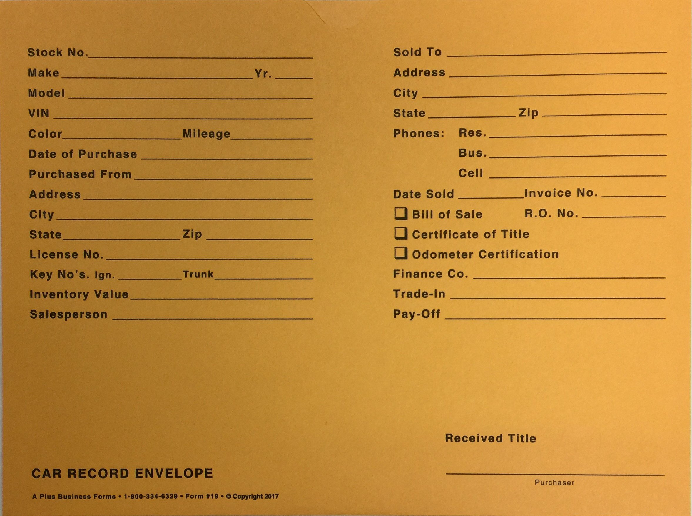 Car Record Envelope #19 Vehicle Deal Jackets, 500 Quantity (Gold)