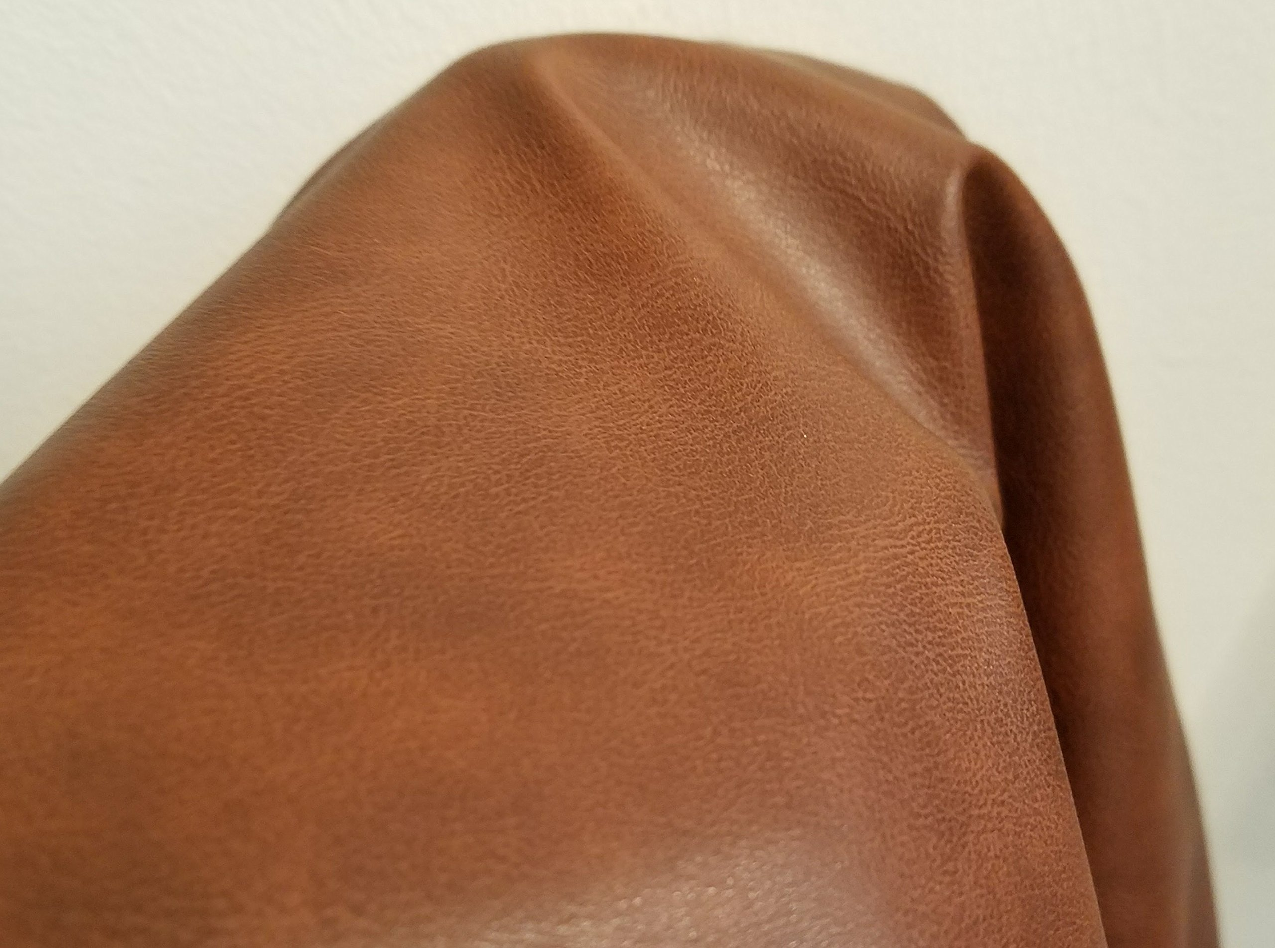 Mid Brown Soft Faux Vegan PU Leather by The Yard Synthetic Pleather 0.9 mm Nappa Yards (108 inch Wide x 52 inch) Soft Smooth Vinyl Upholstery (Mid Brown, 5 Yard (180''x54''))