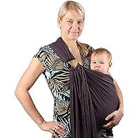 Écharpe de portage avec anneau d'ajustement - Porte-bébé ventral ou dorsal de marque Neotech Care - Réglable - Matériau respirant - Grise, beige ou bleue
