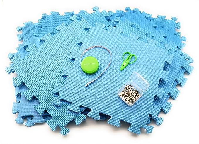 Juego de 12 alfombrillas de espuma para tejer o ganchillo. Incluye paquete de medición: cinta, 50 pines en T y tijeras mini SuperSnips.