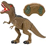 Best Choice Products Kids Remote Control T-Rex Walking Dinosaur Toy w/Lights, Sounds - Brown