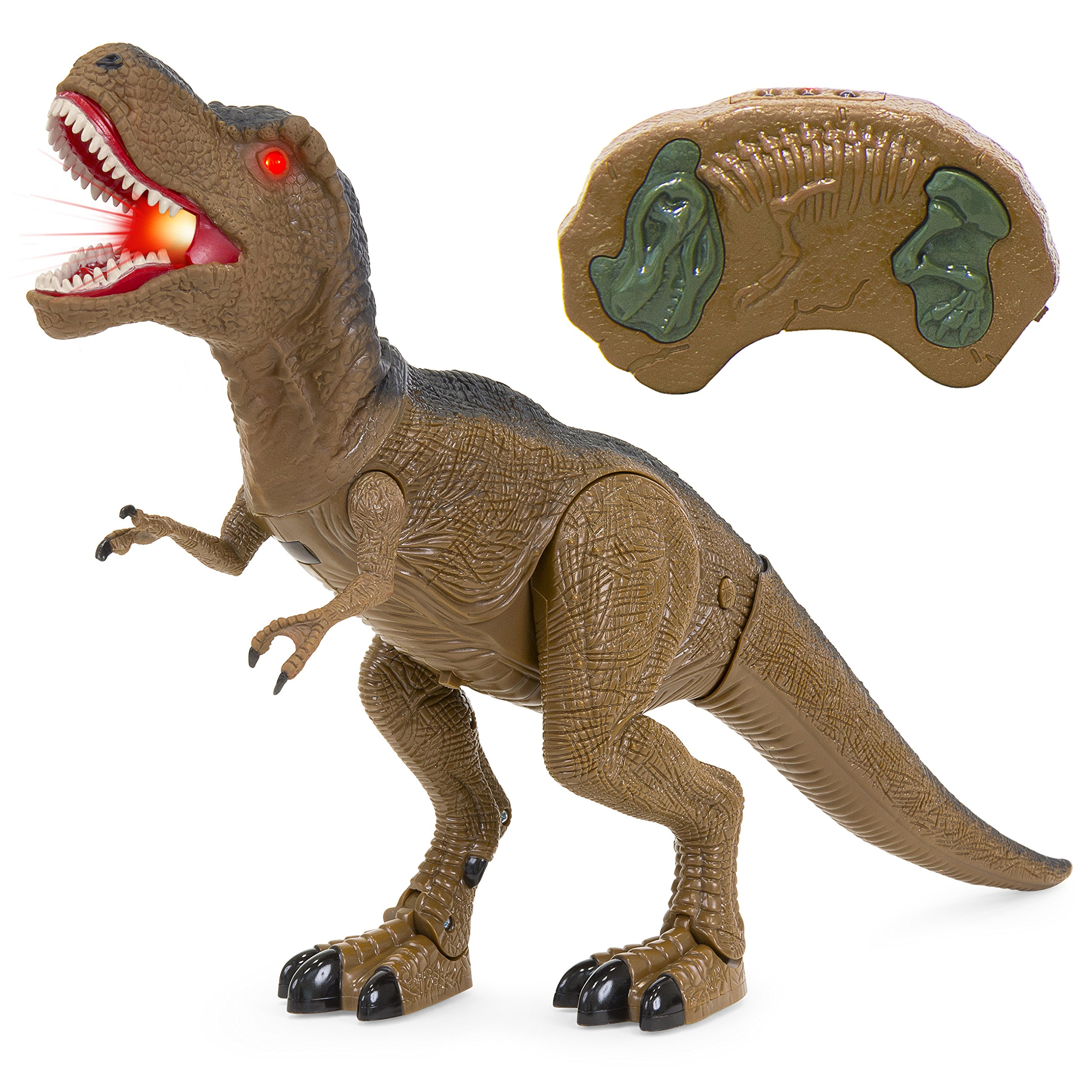 Best Choice Products Kids Remote Control T-Rex Walking Dinosaur Toy w/ Lights, Sounds - Brown