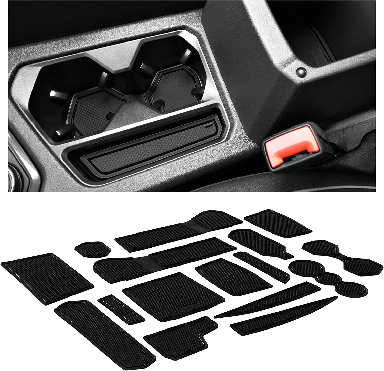 and Door Pocket Inserts 16-pc Set Solid Black Premium Cup Holder Console CupHolderHero for Volkswagen VW Tiguan 2018-2020 Custom Liners Accessories