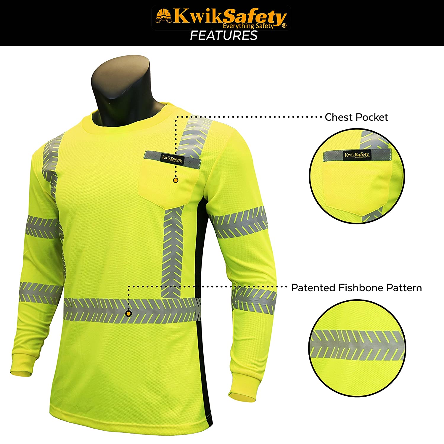 with POCKET and Solid Reflective Class 3 ANSI High Visibility Safety Shirt Tape Construction Security Hi Vis Clothing Men Long Sleeve Yellow Black XL OPERATOR KwikSafety Charlotte, NC