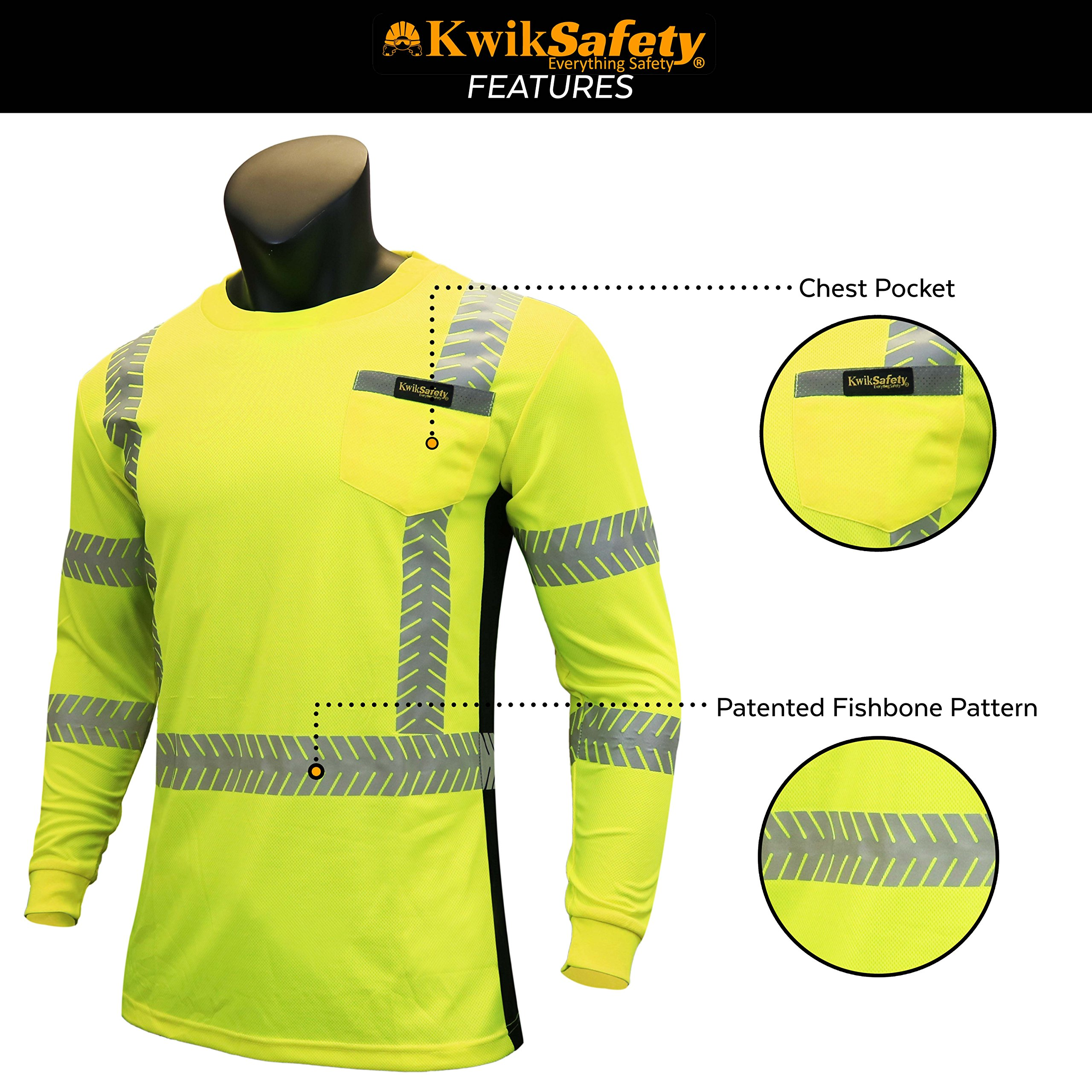 KwikSafety (Charlotte, NC) RENAISSANCE MAN (with POCKET) Class 3 ANSI High Visibility Safety Shirt Fishbone Reflective Tape Construction Security Hi Vis Clothing Men Long Sleeve Yellow Black XL by KwikSafety (Image #5)