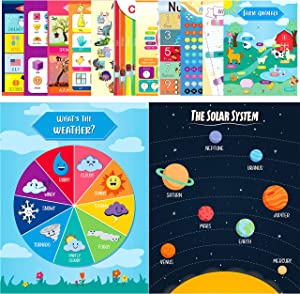 Youngever 13 Pack Laminated Educational Preschool Posters for Toddlers and Kids, Learning Posters, Classroom Posters, Teaching Posters, Alphabet ABC Posters, with Solar System (16 x 11 inch)