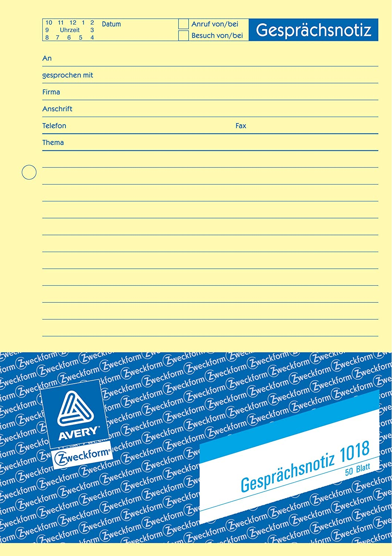 Avery Zweckform 1018 5 Gesprächsnotiz A5 Gelb 50 Blatt 5erp Bürobedarf Schreibwaren