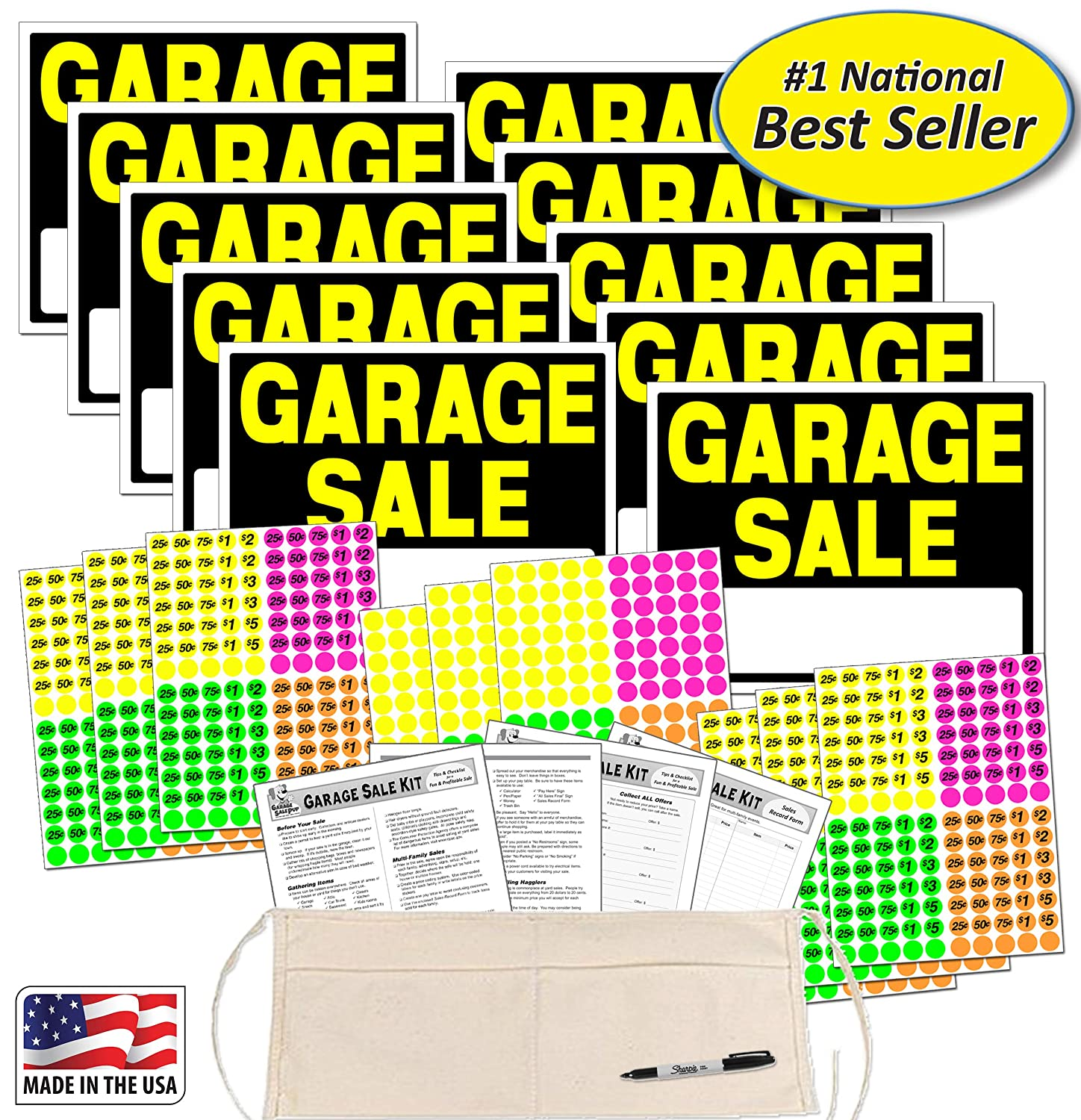 Garage Sale Sign Kit with Pricing Stickers and Change Apron A508G
